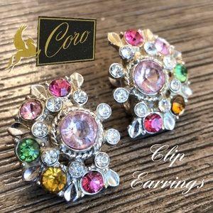 VTG Coro Clip Earrings Fan of Pastel Rhinestones